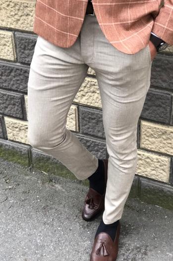 38718 Pantolon Süperslim Bej - Pantolon