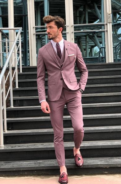 40867 takım elbise bordo - Takım Elbise