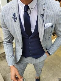 40113-K Gofre Çizgili Gri Yelekli Takım Elbise
