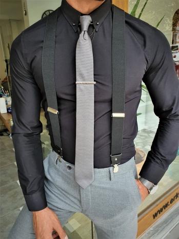 37574 Özel Üretim Zincir Yaka Gömlek Siyah