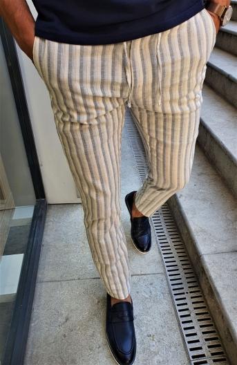38822 Çizgili Keten Pantolon Lacivert