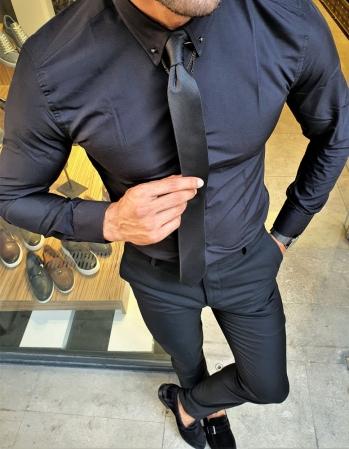 02 Özel Üretim Zincir Yaka Gömlek Siyah