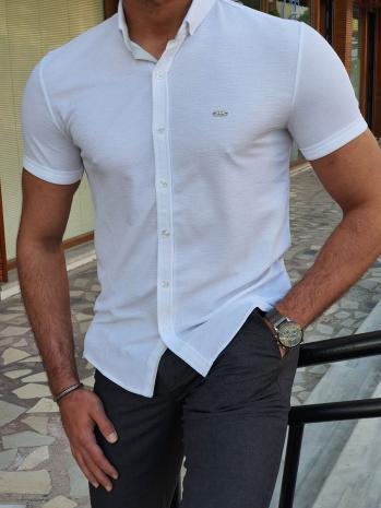1084 Dar Kesim Kendinden Desenli Düğme Yaka Kısa Kollu Gömlek Beyaz