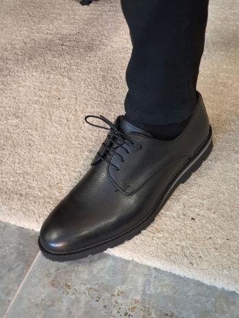 12206 Sardinelli Özel Üretim Bağcıklı Deri Ayakkabı Siyah