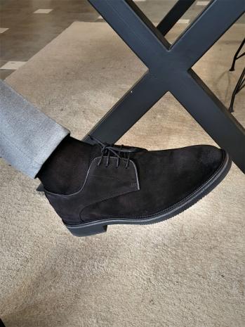 12416 Bağcıklı Süet Deri Ayakkabı Siyah