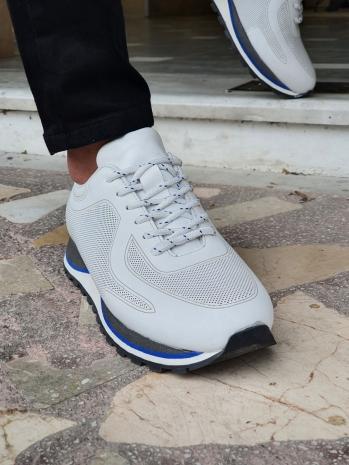 13094 Eva Taban Bağcıklı Deri Spor Ayakkabı Beyaz