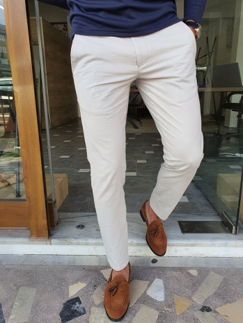 2006 Dar Kesim Kendinden Desenli Yan Cep Keten Pantolon Taş