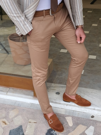 2014 Dar Kesim Yan Cep Pamuk Pantolon Camel
