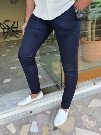 2014 Dar Kesim Yan Cep Pamuk Pantolon Lacivert
