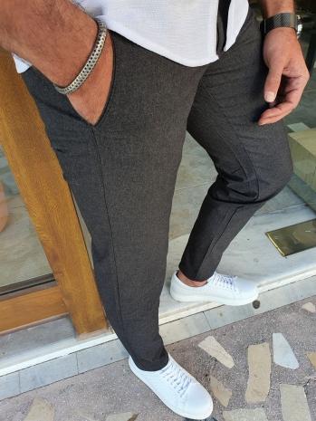 2016 Dar Kesim Desenli Yan Cep Keten Pantolon Siyah