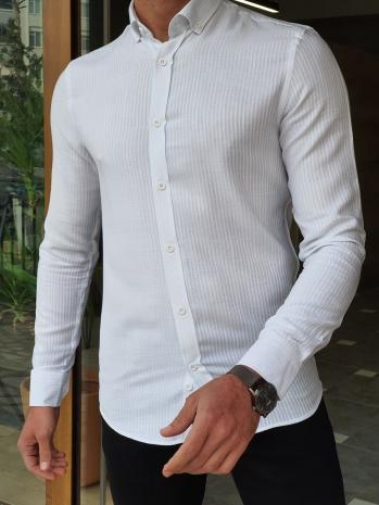5107 Dar Kesim Düğme Yaka Detaylı  Çizgili Gömlek Beyaz