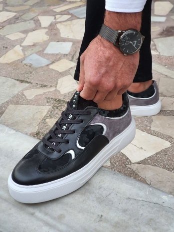 516 Sardinelli Özel Üretim Eva Taban Bağcıklı Ayakkabı Siyah&Gri