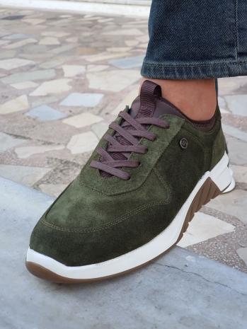 5341-S Sardinelli Özel Üretim Renkli Eva Taban Bağcıklı Süet Deri Ayakkabı Yeşil