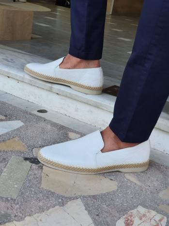 5771 Sardinelli Özel Üretim Hasır Taban Detaylı Dana Derisi Babet Ayakkabı Beyaz