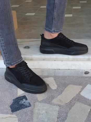 G024 Sardinelli Özel Üretim Eva Taban Bağcıklı Süet Deri Sneakers Siyah