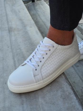 G037 Eva Taban Bağcıklı Deri Günlük Ayakkabı Beyaz