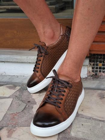 G037 Sardinelli Özel Üretim Eva Taban Bağcıklı Deri Günlük Ayakkabı Taba