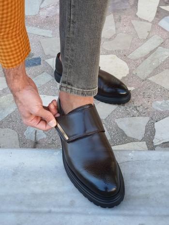 G052 Sardinelli Özel Üretim Açma Deri Eva Taban Ayakkabı Kahverengi